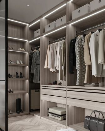 富裕型70平米三室两厅北欧风格衣帽间设计图