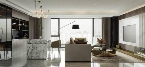140平米四现代简约风格客厅设计图