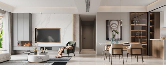 130平米四室三厅现代简约风格客厅效果图