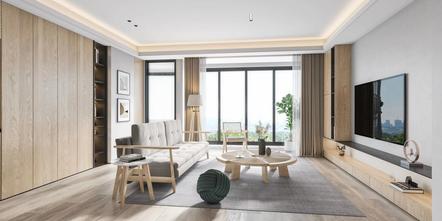 20万以上80平米日式风格客厅装修效果图