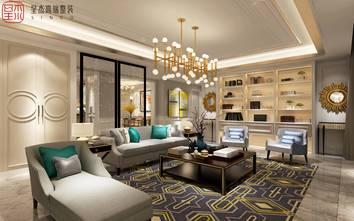 豪华型140平米别墅轻奢风格客厅装修案例