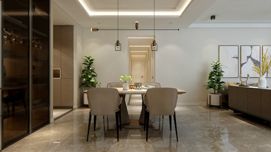 140平米四室两厅轻奢风格餐厅图片