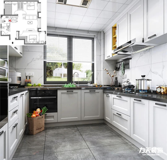 5-10万100平米三室两厅英伦风格厨房图片大全