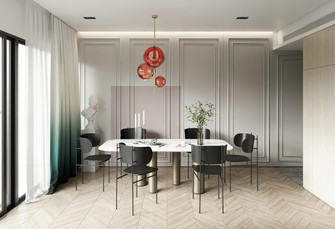 经济型90平米三室一厅现代简约风格餐厅图