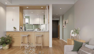 富裕型70平米一室一厅北欧风格厨房图