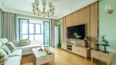 富裕型100平米三室两厅日式风格客厅图