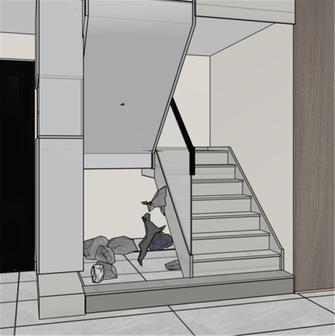 140平米现代简约风格楼梯间装修案例