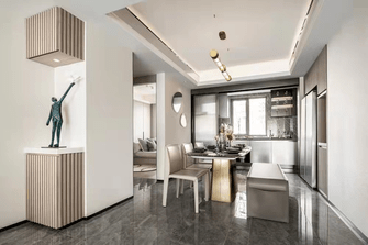 经济型80平米三室一厅现代简约风格餐厅图片