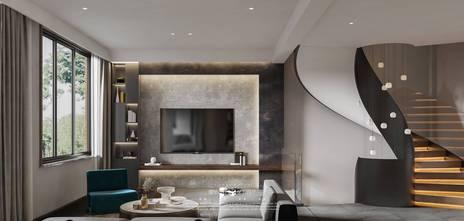 140平米别墅英伦风格客厅装修案例