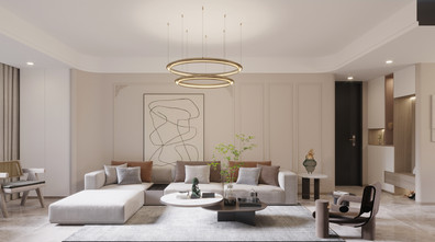 富裕型120平米三室三厅轻奢风格客厅图片大全