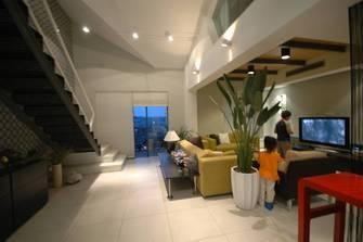 富裕型120平米复式现代简约风格客厅装修图片大全