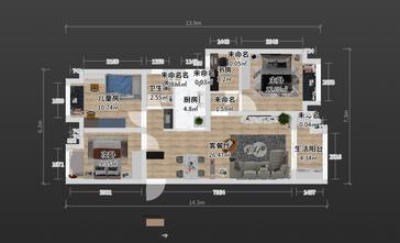 100平米三室两厅日式风格客厅效果图
