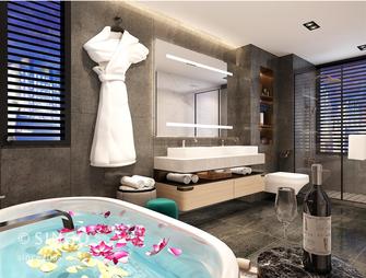 豪华型140平米四室三厅现代简约风格卫生间图