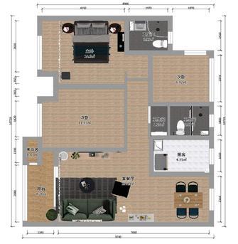 90平米三北欧风格客厅效果图