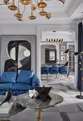 富裕型80平米法式风格客厅装修图片大全