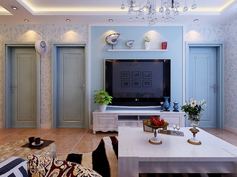 140平米三室一厅地中海风格客厅图片大全