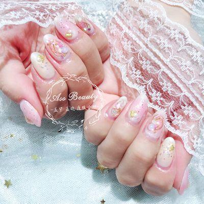 粉红女郎美甲款式图