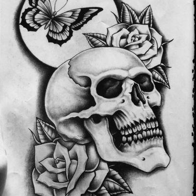 骷髅玫瑰纹身图