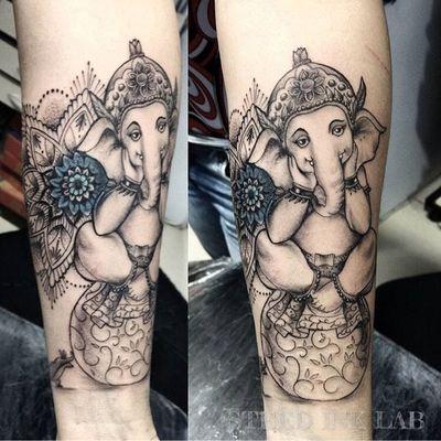 小臂象神纹身图