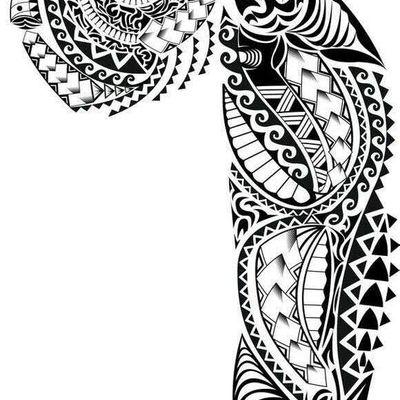 半甲花臂纹身图