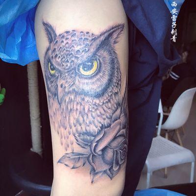 写实猫头鹰纹身款式图