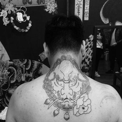 唐狮线条纹身款式图