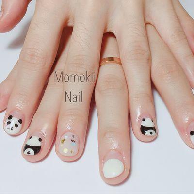 小熊猫美甲图