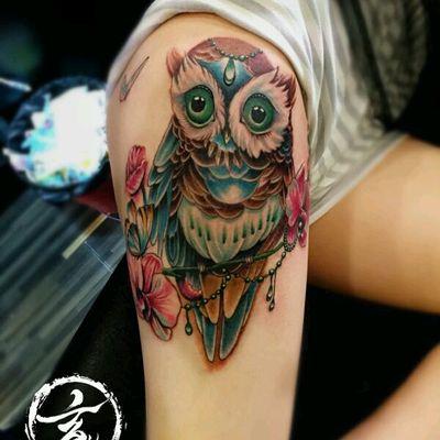 猫头鹰作品纹身图