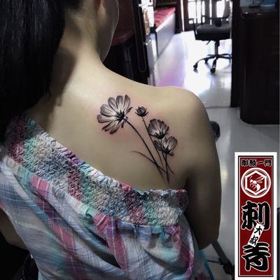水墨花卉纹身款式图