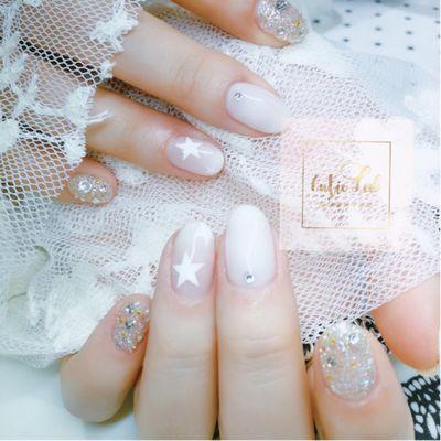 时尚水晶砂美甲款式图