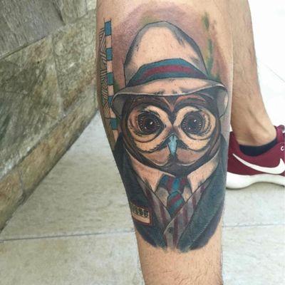 欧美猫头鹰纹身款式图