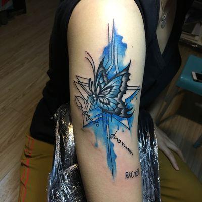 蝴蝶遮盖纹身图