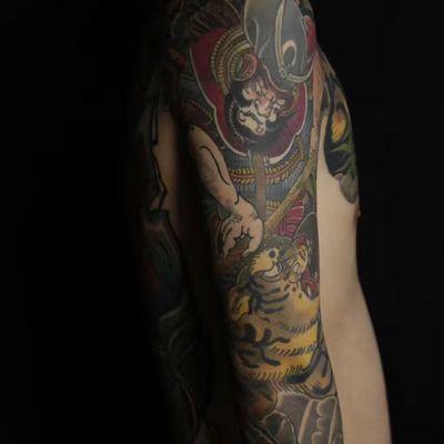 传统花臂纹身款式图