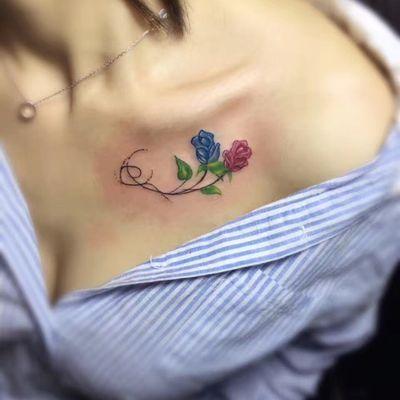 锁骨小花纹身款式图