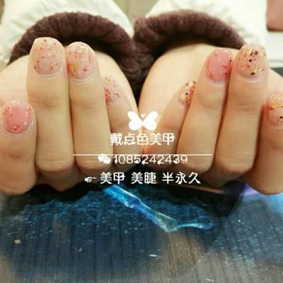 粉色大理石美甲图