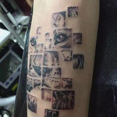 狮子拼图纹身图