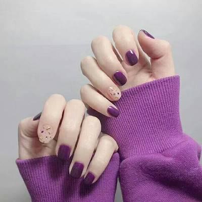 紫色系美甲款式图