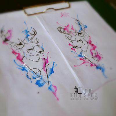 水彩几何鹿纹身款式图