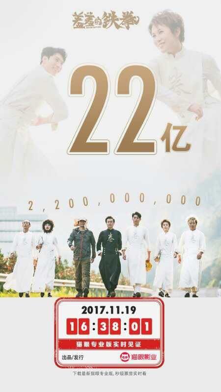 《羞羞的鐵拳》破22億,內地票房榜位居第六,領先《變形金剛4》