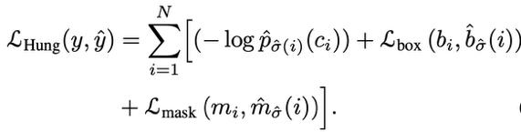 公式3 VisTR整体损失函数