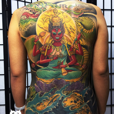 满背爱染冥王纹身图