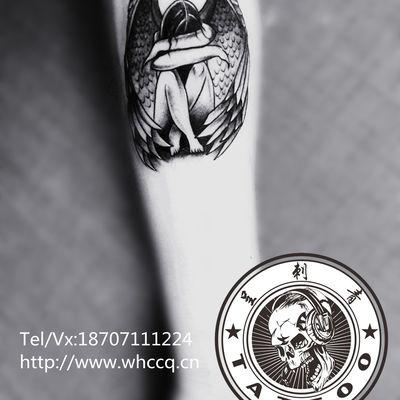 守护天使纹身图