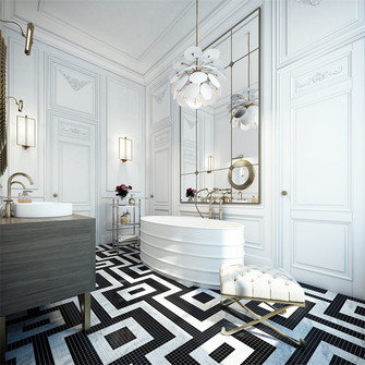 90平米三室两厅新古典风格卫生间装修案例