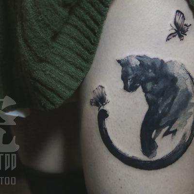 水墨小猫纹身款式图
