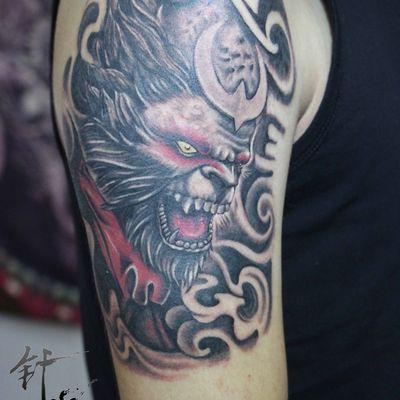 针锋刺青男士手臂悟空纹身款式图