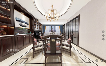 140平米三室两厅中式风格餐厅欣赏图