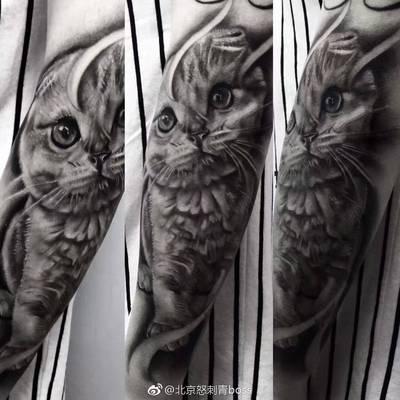 怒刺青-黑灰写实纹身款式图