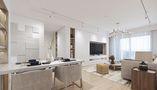 80平米三室一厅现代简约风格餐厅设计图