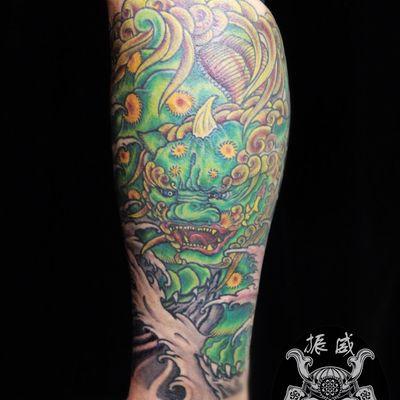 唐狮子纹身图