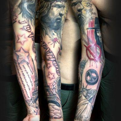 欧美黑白花臂纹身图